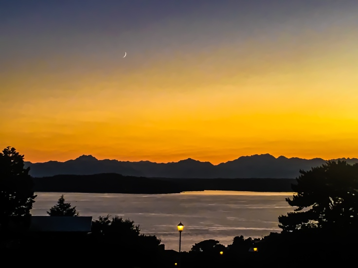 Moon and the Olympic Mountains